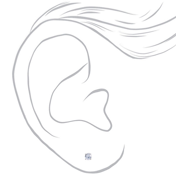 Claire's - cubic zirconia 4mm round stud earrings - 2