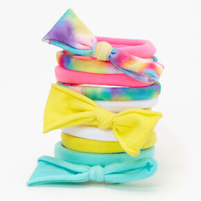 Claire's Club Rainbow Tie Dye Rolled Bow Hair Ties - 10 Pack,