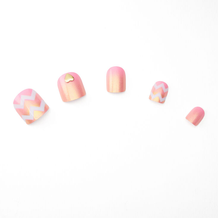 Ombre Chevron Square Press On Faux Nail Set - Pink, 24 Pack,