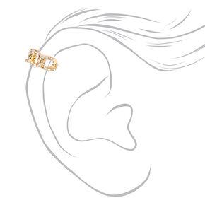 Gold Crystal Chain Ear Cuffs - 3 Pack,
