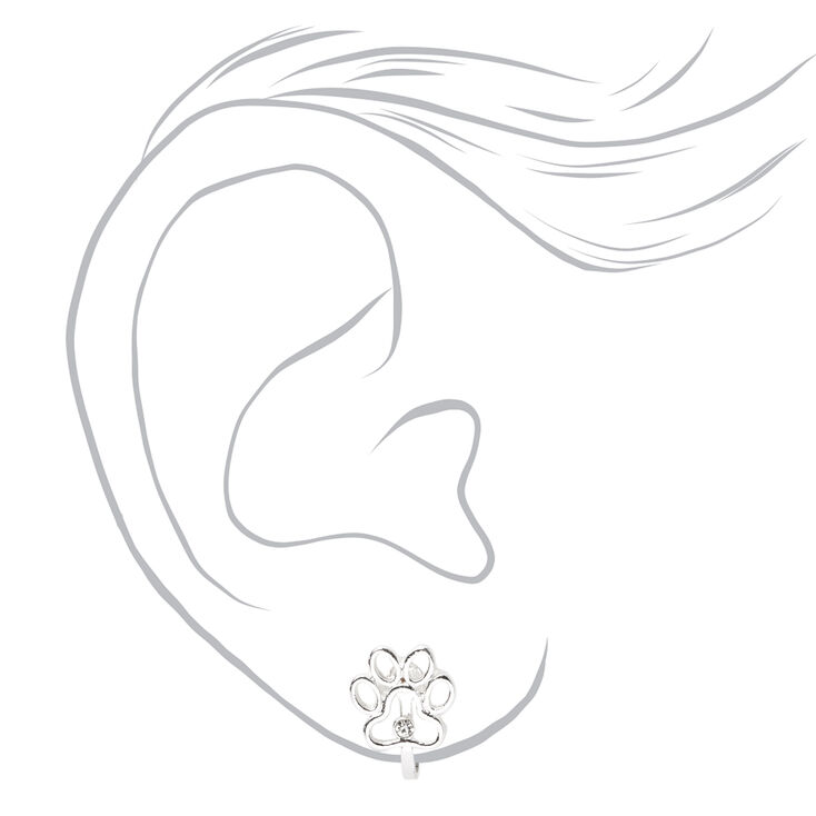 Silver Paw Print Clip On Stud Earrings,