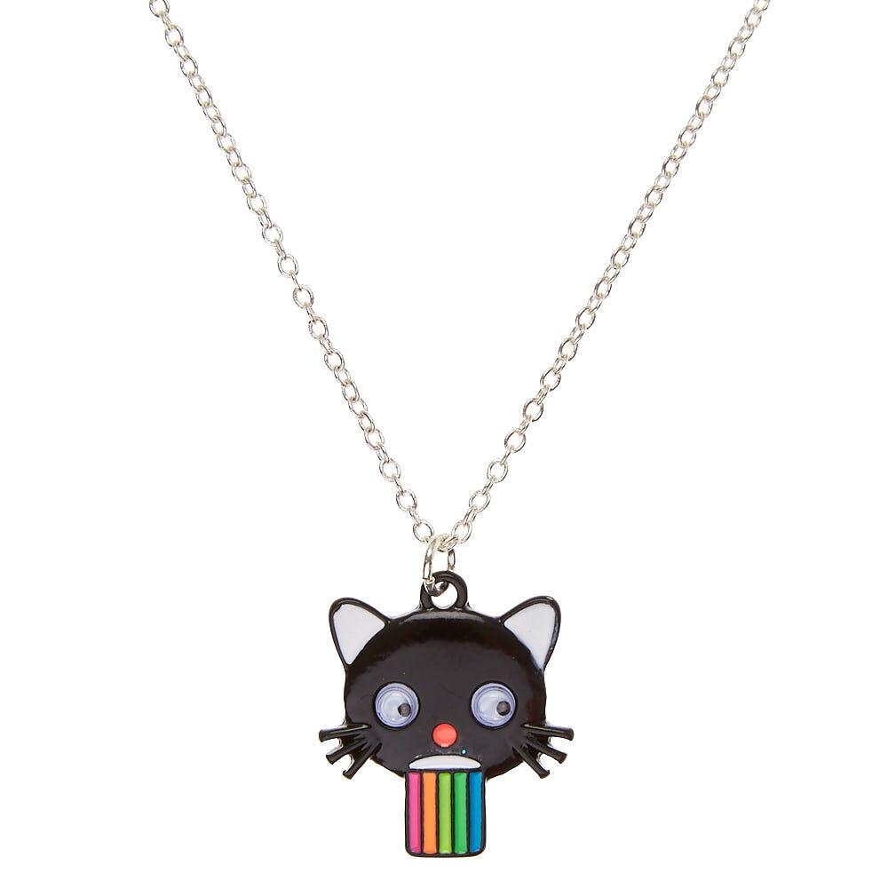 Silver Round Necklace Unicorn Vomiting Rainbow
