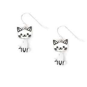Silver Moving Cat Drop Earrings,