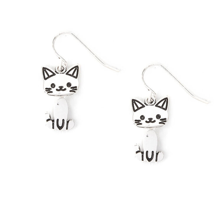 Silver Moving Cat Drop Earrings,