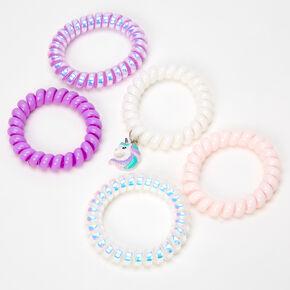 Claire's Club Unicorn Coil Bracelets - Lilac, 5 Pack,
