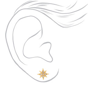 Gold Embellished Star Stud Earrings,
