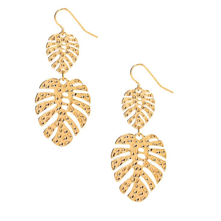 """Gold 2"""" Palm Leaf Drop Earrings,"""