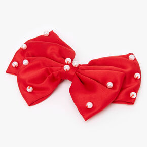 Claire's Club Red Velvet Pearl Hair Bow Clip,