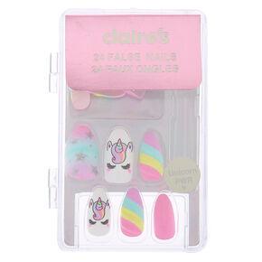Pastel Unicorn Stiletto Faux Nail Set - 24 Pack,
