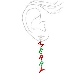 "Silver 2.5"" Merry Xmas Drop Earrings,"