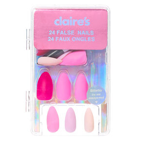 Mixed Pinks Matte Stiletto Faux Nail Set - 24 Pack,