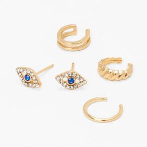 Gold Mixed Ear Cuff & Evil Eye Stud Earrings - 4 Pack,