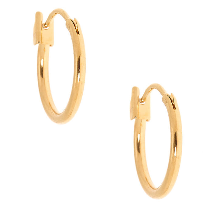18kt Gold 14MM Plated Hoop Earrings,