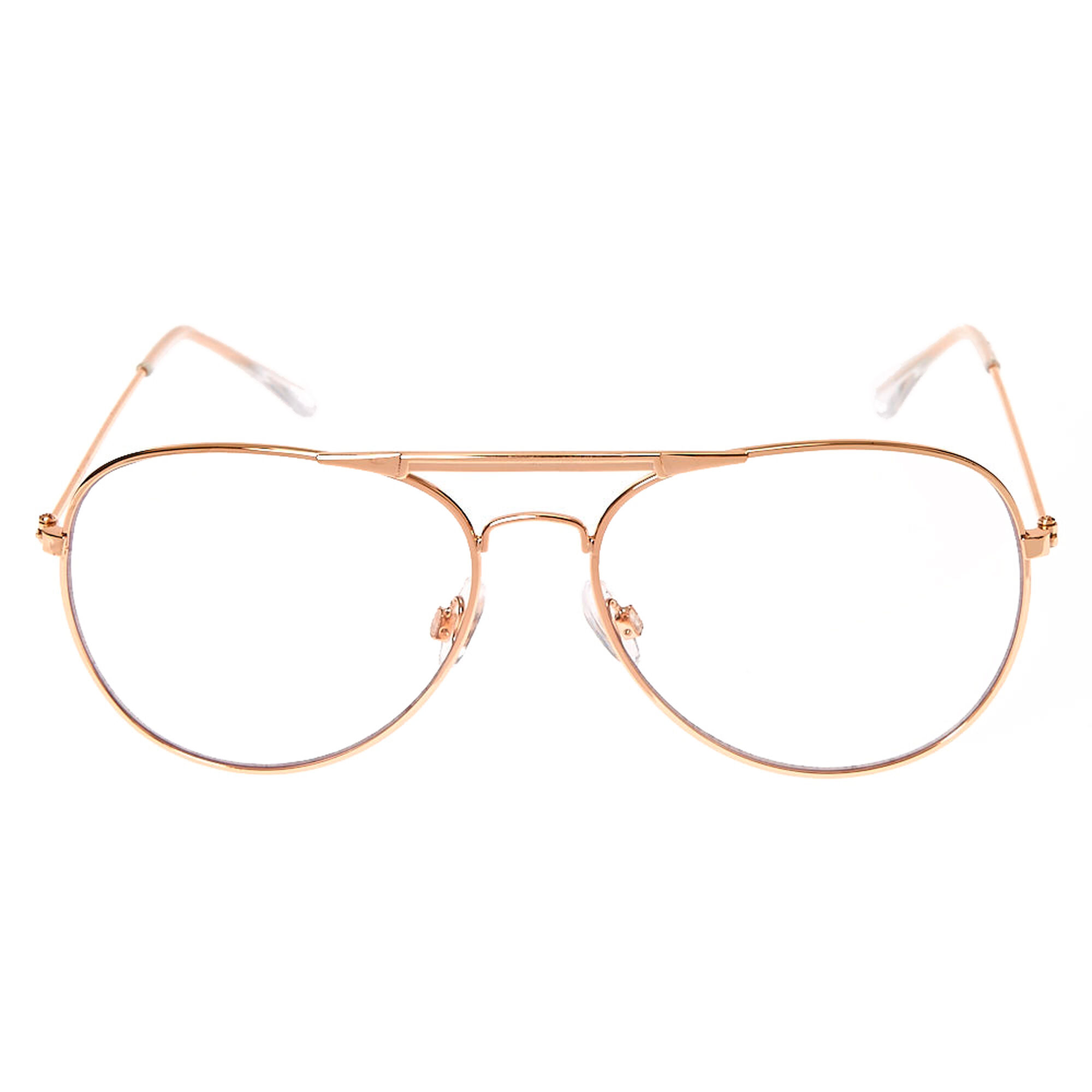 Rose gold metal aviator glasses claire 39 s us What style glasses are in fashion 2015
