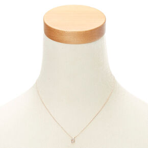 Rose Gold Embellished Initial Pendant Necklace - D,