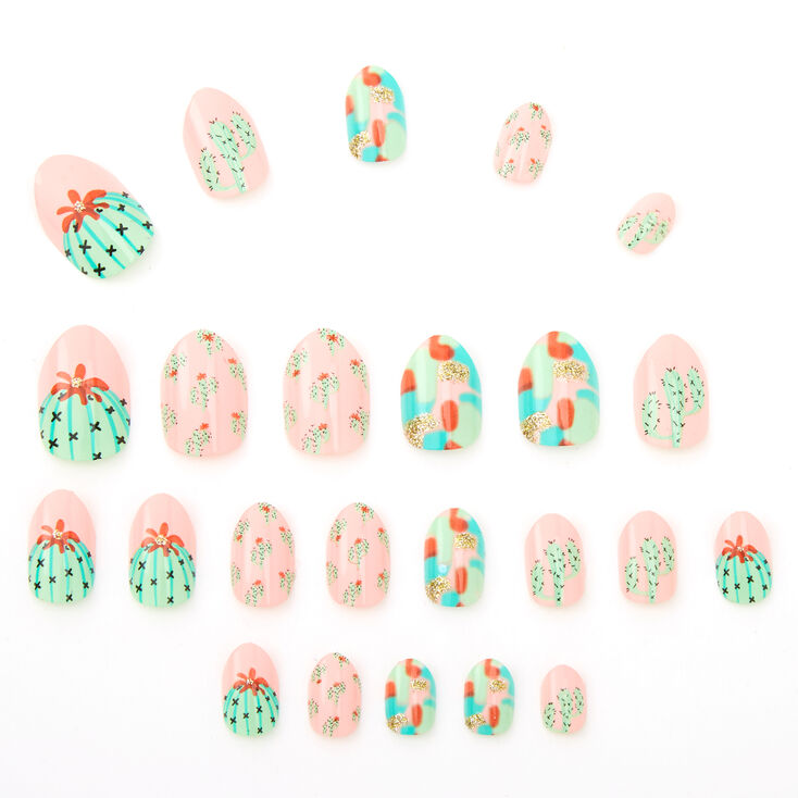 Cactus Stiletto Press On Faux Nail Set - Pink, 24 Pack,