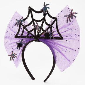 Halloween Glitter Spiderweb Bow Headband - Purple,