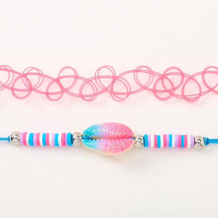 Blue, Pink, & Purple Cowrie Shell Choker Necklaces - 2 Pack,