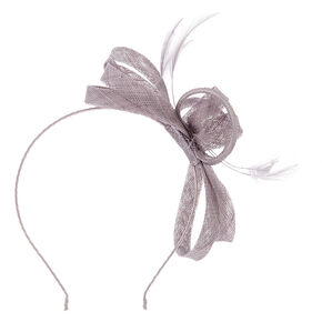 Feather Bow Headband - Grey,
