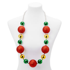 Holiday Glitter Baubles Necklace,