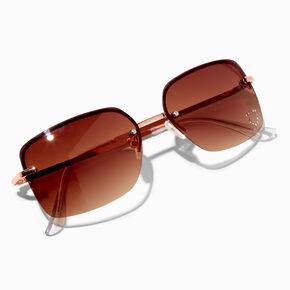 Amber Studded Heart Rectangle Sunglasses - Pink,