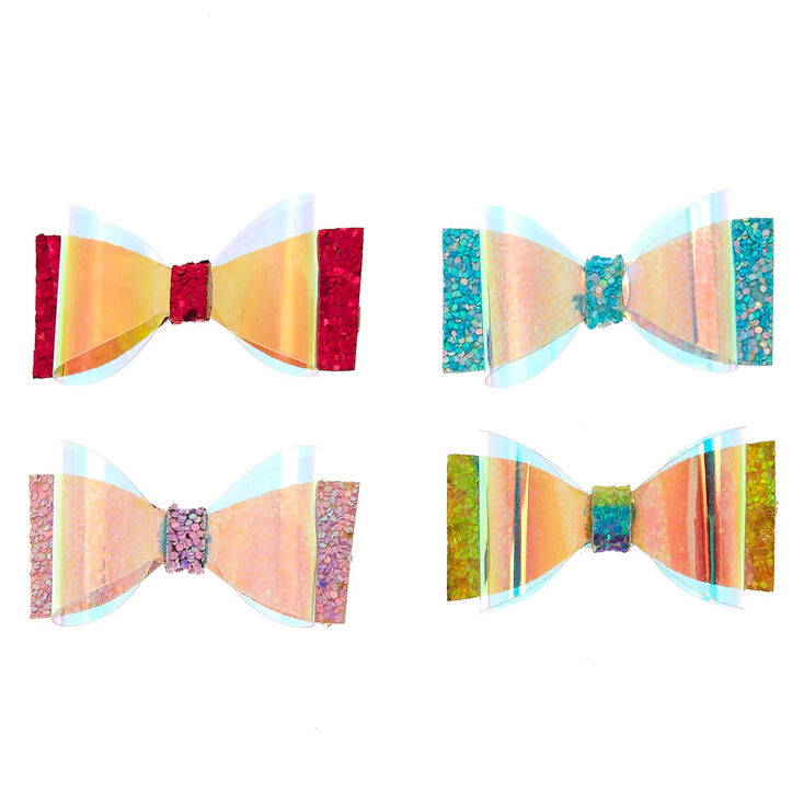 Claire's Club Holographic Bow Hair Clips - 4 Pack,