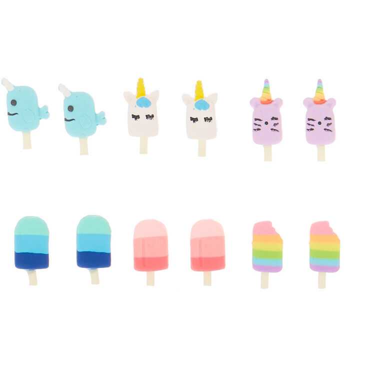 Unicorn Popsicle Stud Earrings - 6 Pack,