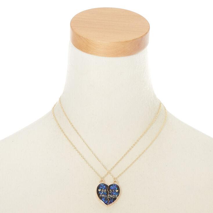 Best Friends Heart Pendant Necklaces - Purple, 2 Pack,