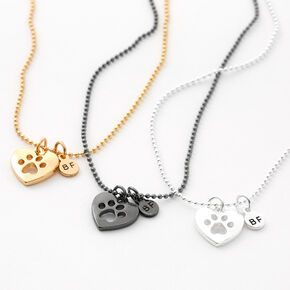 Best Friends Mixed Metal Pawprint Pendant Necklaces - 3 Pack,