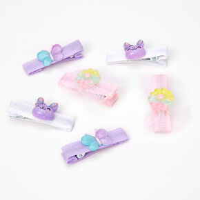 Claire's Club Glitter Bunny Hair Clips - 6 Pack,