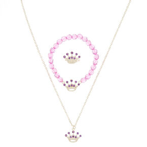 Claire's Club Crown Jewelry Set - Purple, 3 Pack,