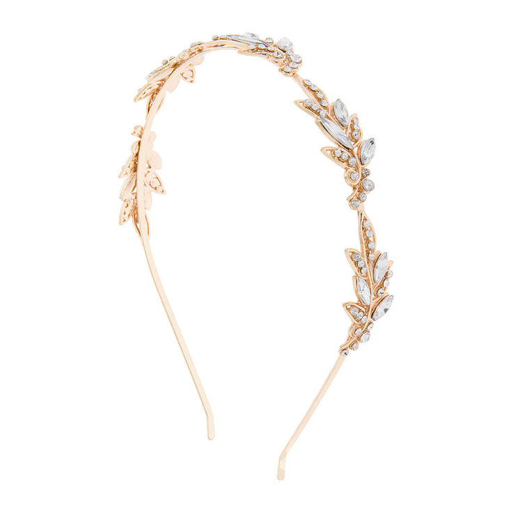 Gold & Marquis Crystal Leaves on a Vine Headband,