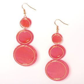 """Gold 3"""" Round Seashell Trio Drop Earrings - Red,"""