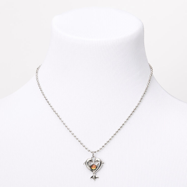 Silver Mood Dolphin Heart Pendant Necklace,