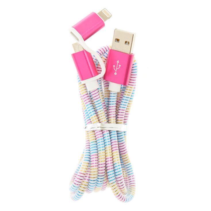 Rainbow Striped 2-in-1 USB Cord,