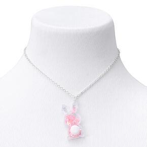 Shaker Glitter Easter Bunny Pendant Necklace - Pink,
