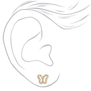 18ct Gold Plated Crystal Butterfly Stud Earrings,