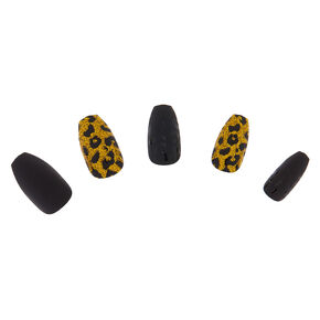 Glitter & Matte Leopard Coffin Faux Nail Set - Gold, 24 Pack,