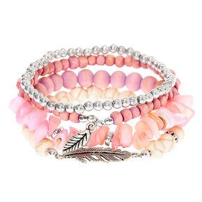 Bracelets élastiques perlés bois d'imitation - Lavande, lot de 4,