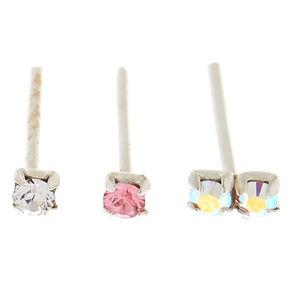 Swarovski® 22G Pastel Crystal Nose Studs - 3 Pack,
