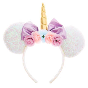 cba1a438457 Disney® Sequin Unicorn Minnie Mouse Ear Headband - White