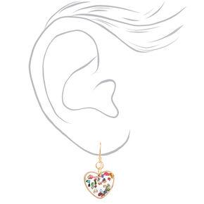 "Gold 0.5"" Transparent Confetti Heart Drop Earrings,"