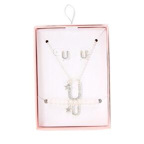 Silver Iridescent Glitter Initial Letter U Jewellery Set,