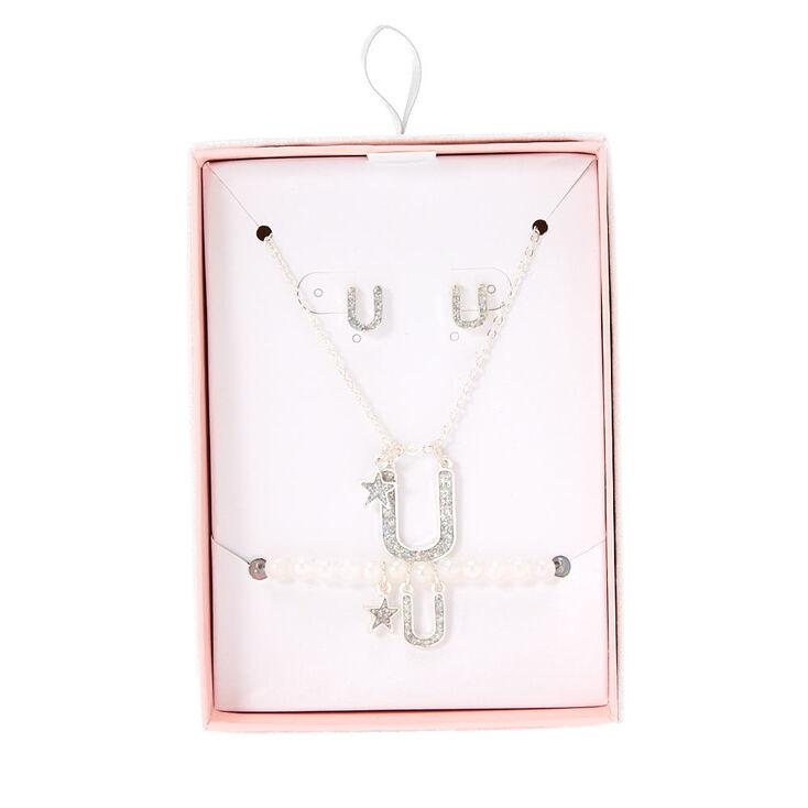 Parure de bijoux couleur argenté à paillettes irisées lettre U,