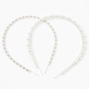 Chunky Pearl & Faux Rhinestone Headbands - 2 Pack, Ivory,