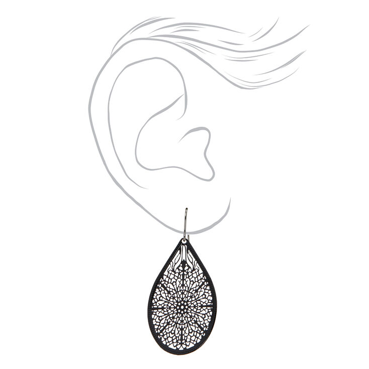 "Black 1.5"" Filigree Teardrop Drop Earrings,"