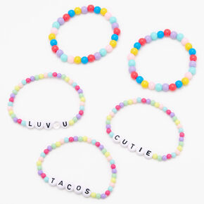 Rainbow Candy Beaded Stretch Bracelets - 5 Pack,