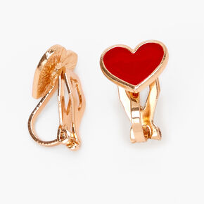Gold Heart Clip On Stud Earrings - Red,