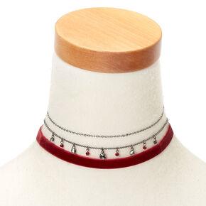 Hematite Beaded Velvet Choker Necklaces - Red, 3 Pack,