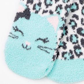Claire's Club Cat Animal Print Chenille Slipper Socks - Mint,